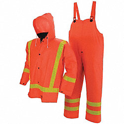 Flame Resist Rainsuit w/Hood, Orange, 2XL