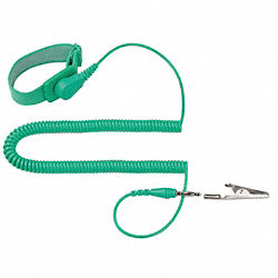 ESD Wrist Strap, Adjustable, 10 ft L, Green