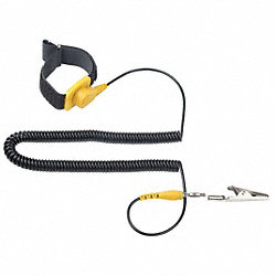 ESD Wrist Strap, Adj, 10 ft L, Yellow/Black