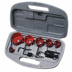 Hole Saw Kit, Bi-Metal, 6 TPI, 9 Pc