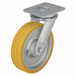 Swivel Plate Caster, 1760 lb, 6-1/4 In Dia