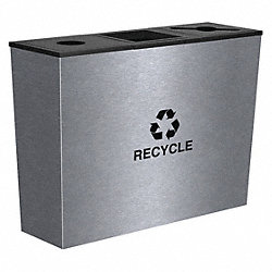 Triple Recycling Receptacle, 54 Gal, SS