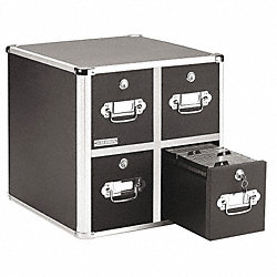 CD/DVD File w/Lock, 4-Drawer, Black