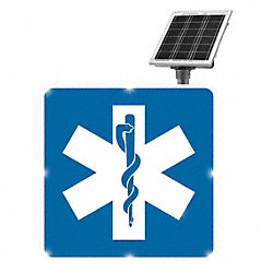 LED Hospital Sign, 30x30, Blue, Solar