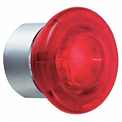 Pushbutton, Illuminated, Mushroom, Red