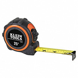 Measuring Tape, 1 In x 25 ft, Black/Orange