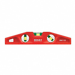 Torpedo Level, Alum, 10 In, Magnetic, Red