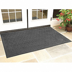 Entry Mat, Rubber, Black, 3x5 ft.