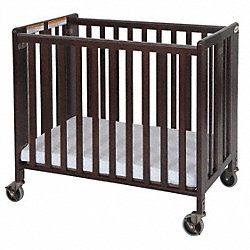 Folding Crib, Cherry, 2 In Mattress