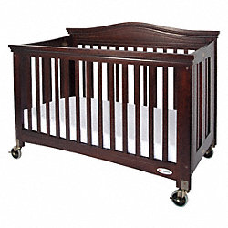 Folding Crib, Cherry, 3 In Mattress