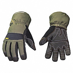 Cold Protection Gloves, Large, Gry/Grn, Pr
