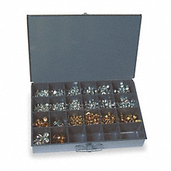 Hex Locknut Assortment, Flange, 1255Pcs