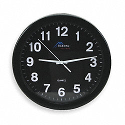 Clock, Rnd, Anlg, 10in, Blk w/Blk Face