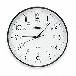 Clock, Rnd, Analog, 24 Hr, 12in, Blk, Batt Op