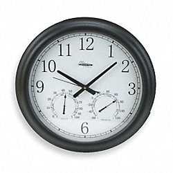 Thermo-Hygrometer Clock, 18in, Blk