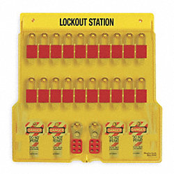 Lockout Station, Filled, 20 Padlocks