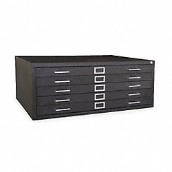 Cabinet, Flat File, 5 Drawer, Black