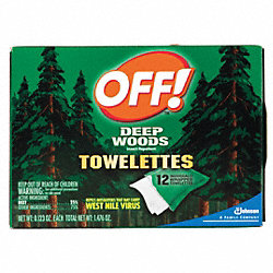 Repellent Wipe, 6x6 In, PK 12