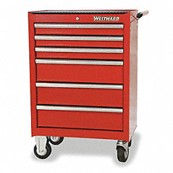 Rolling Tool Cabinet, 27 In W, 6 Drawer