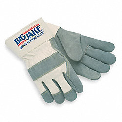 Leather Palm Gloves, XL, White, PR