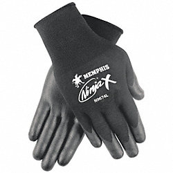 Coated Gloves, S, Black, Bi Polymer, PR