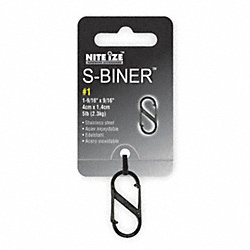 Double Gate Carabiner, 1-9/16 In., Black