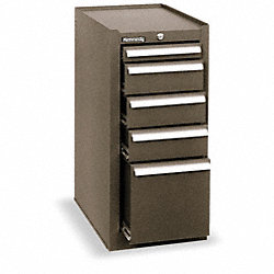 Side Tool Cabinet, 5 Dr, 20 In D, Brown