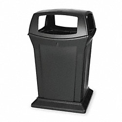 Waste Receptacle, 4 Opening, Black, 45G