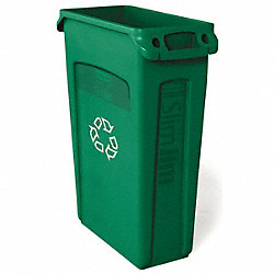 Trash Container, Venting, 23 G, Green