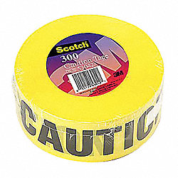 Barricade Marking Tape, 3In W, Yellow, PK16