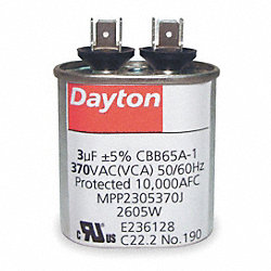 Run Capacitor, 45 MFD, 370 VAC
