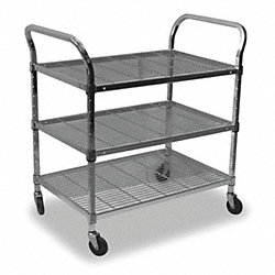 Wire Cart, 3 Shelf, 36x18x39, Chrome