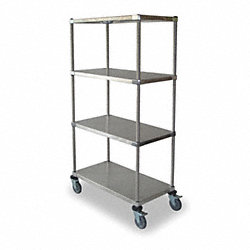 High Cart, HD, SS, 4 Solid Shelf, 36x18x69