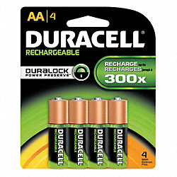 Rechargeable Battery, 2450mAh, AA, PK 4