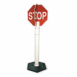 Traffic Sign, 63 x 18In, WHT/R, Stop, Text