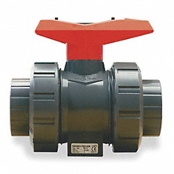 Ball Valve, 2 Pc, 1 In, PVC, Socket/Threaded