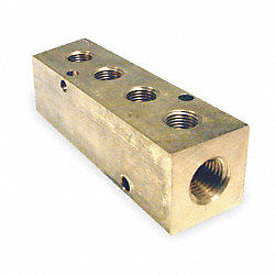Manifold, 3/8 In Inlet, 4 Outlets, Brass