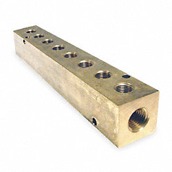 Manifold, 1/4 In Inlet, 8 Outlets, Brass