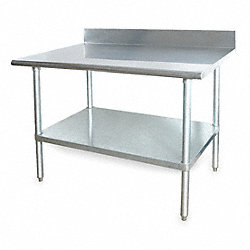 Adj Worktable, W 48 In, D 30 In, SS, w/Shelf