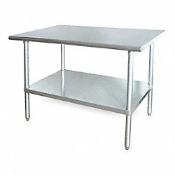 Adj Worktable, W 72 In, D 30 In, SS, w/Shelf