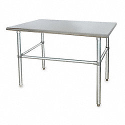 Adj Worktable, W 72 In, D 30 In, SS, Gray