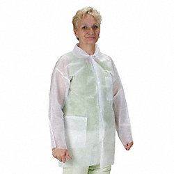 Lab Coat, Polypropylene, White, 3XL, PK 25