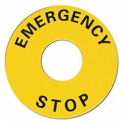 Legend Plate, Emergency Stop, UseW/ 22mm