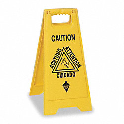 Floor Sign, Yellow, 24 In