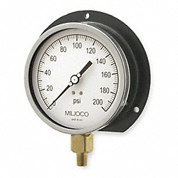 Pressure Gauge, Process, 4 1/2 In, 200 Psi