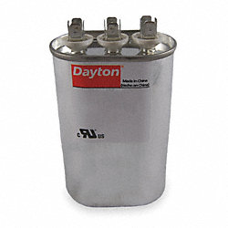 Run Capacitor, 40/7.5 MFD, 370 VAC, Oval