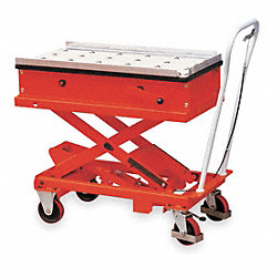 Scissor Lift Cart, 440 lb., Steel, Roller