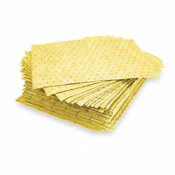 Absorbent Pads, 15 In. W, Yellow, PK 100