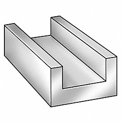U-Channel, AL 6063, 1 In Leg, 2 In x 8 ft