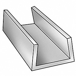U-Channel, AL 6063, 2 In Leg, 5 In x 8 ft